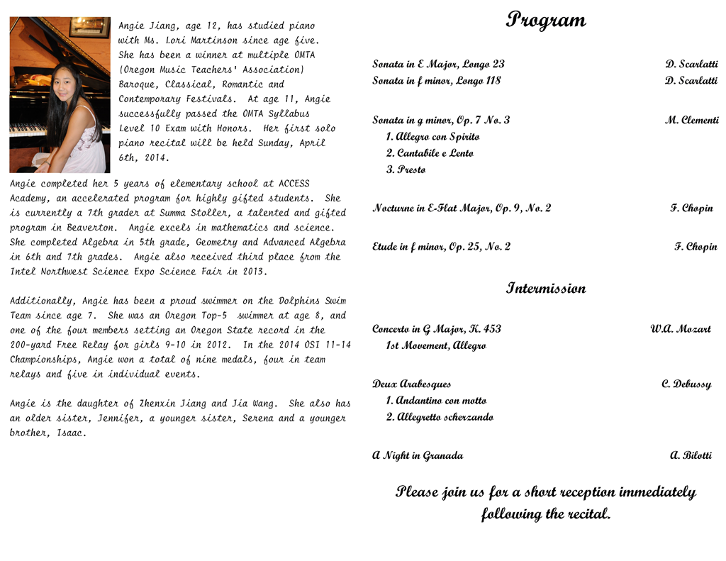 Angie Jiangs Piano Concert Michelles Piano in Portland OR – Concert Program
