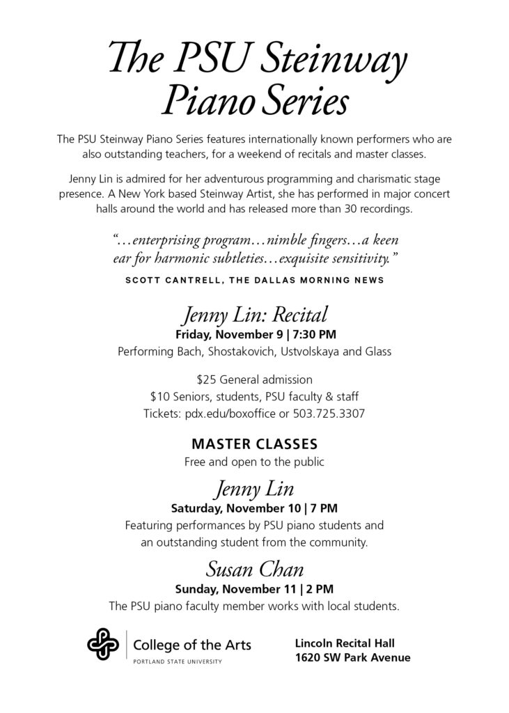 Jenny Linn Steinway Recital and Master Classes at PSU