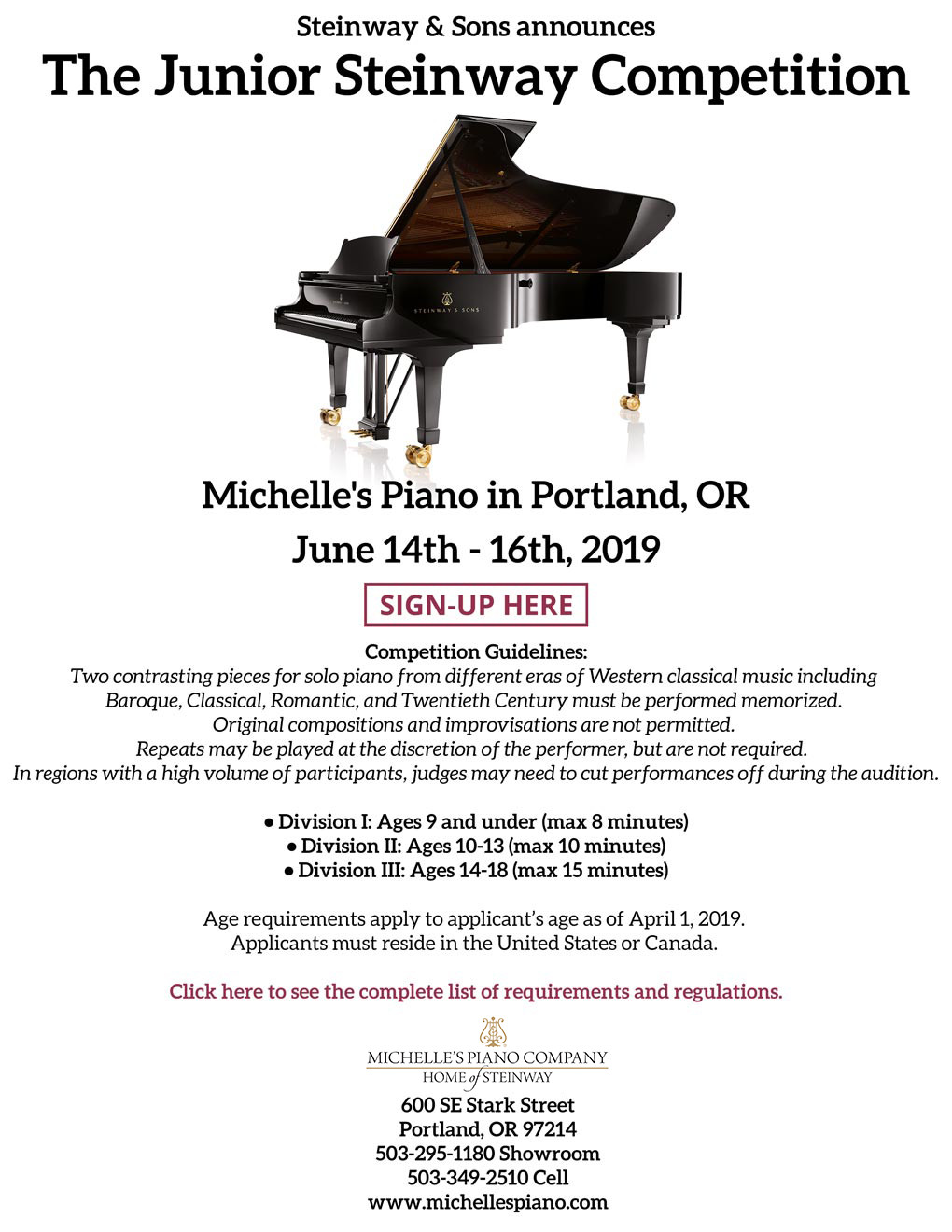 2019 young steinway competition at michelles pianos in portland or