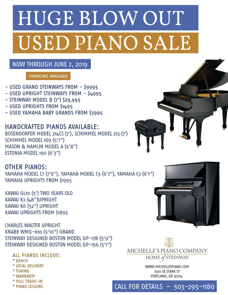 Used Piano Blow Out Sale at Michelle's Piano in Portland OR