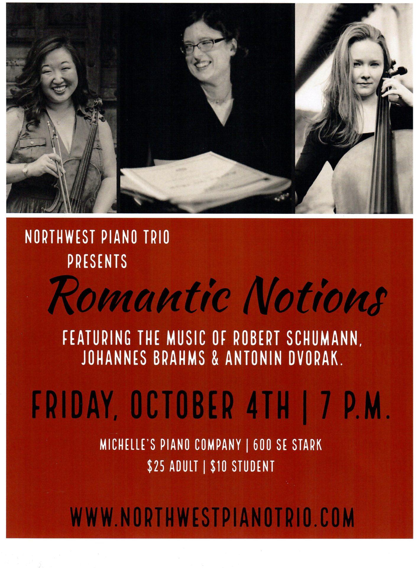 Northwest Piano Trio Presents Romantic Notes at Michelles Piano in Portland OR