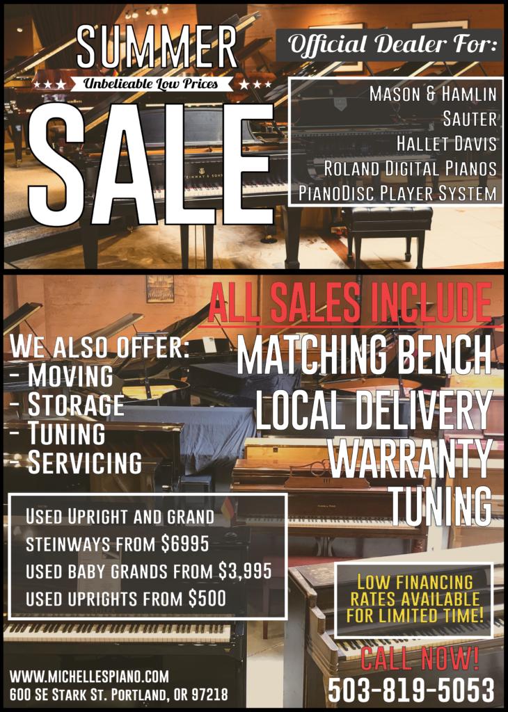 Michelles Piano in Portland OR Summer Sale